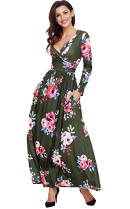 BY61772-9 Olive Floral Surplice Long Sleeve Maxi Boho Dress